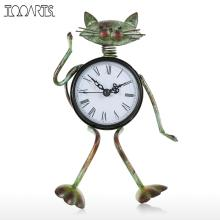 Tooarts Cat Clock Handmade Vintage Metal Iron Cat Figurine Mute Table Clock Practical Clock One AA Battery Desktop Clock