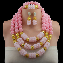 New Handmade Crystal Beads Balls Wedding Jewelry Set Fashion Pink Costume Jewelry Nigerian Brides Free Shipping
