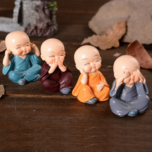 Cute Shaolin Monks Resin Crafts Home Accessories Car Decoration Wedding Holiday Gift Creative Doll Resin Craft Supplies