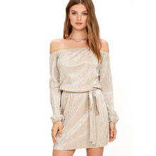 American Apparel Women Sexy Dresses Long Sleeve Slash Neck Evening Party A-Line Mini Dress Club Wear Clothings