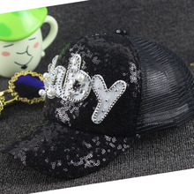 LGFC0227 Summer bling paillette s girls Stage Sequins hat baseball cap baby letter baseball cap(China)