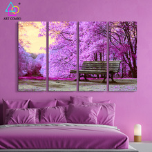 4 Panels Large Wall Pictures Amazing Beautiful Trees Art Painting Canvas Wall Room Painting Images Home Decor Tree Posters 4T045