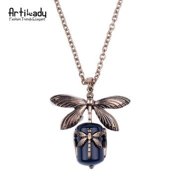 Artilady naturel agate pendentif collier de mode plaqué or libellule pendentif collier pour femmes bijoux parti