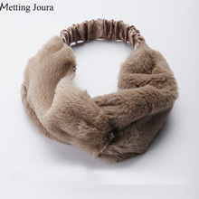 Metting Joura Winter Faux Fur Headband Cross Elastic Headband Warm Hair Accessories(China)