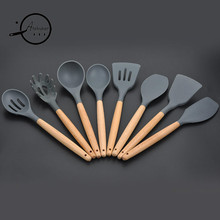 8Pcs/set Wood Handle Silicone Cooking Utensils For Kitchen Slotted Turner Spatula Spoon Ladle Spaghetti Tools Cooking Sets