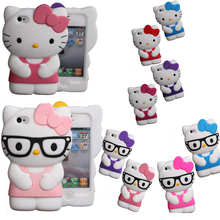 New cute cartoon Soft Silicon 3D hello kitty Case For iPhone 4 4s 5 5s SE 6 6S plus S2 S3 NOTE2 Bowknot Hello kitty rubber cover