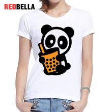 REDBELLA Fashion Girl Tshirt Kawaii Panda Printed Cartoon Cute Funny Bubble Tea Hipster Cool White Tee Shirt Cotton Casual Tops(China)