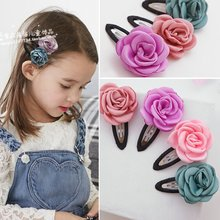 5 Pcs/lot Cloth Fabric Rose Flower Hair Grips Girls' Hairpin Kids Hair Clips Accessories