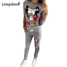 2017 New Autumn Women Ladies Long Sleeve KISS Mickey & Minnie Print O-Neck Sweatshirts Set Pullover Fleece Casual Tracksuits(China)