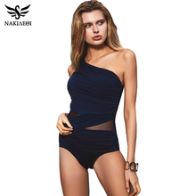 NAKIAEOI Sexy One Piece Swimsuit Women 2017 Summer Beachwear Mesh One Shoulder Swimwear Bathing Suits Bodysuit Monokini Swimsuit(China)