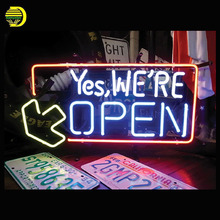 Neon Sign For yes We Open Real Glass Tubes Until the end Lamp neon Windows light custom Brand LOGO Handmade neon signs for sale(China)