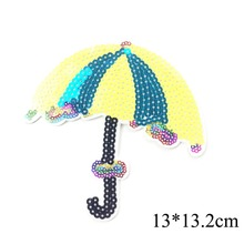 5pcs Umbrella Iron On Patches For Clothing Iron On Applique For Clothes Badge For Germent Sequined sticker DIY Sewing Supplier
