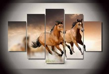 5 panel large Hd printed oil painting brown Galloping horses canvas print home decorativve wall art picture for living roomF0301(China)
