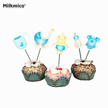 MILKMICO 18pcs Baby Wagon Party cupcake toppers picks decorations for Kids Birthday party Baby Shower Cake favors Decor supplies