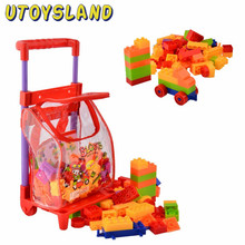 UTOYSLAND 96 Pcs Plastic Building Blocks Kits with Cart Kids Children's Montessori Educational Toys