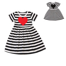 2017 Toddler Baby Dress Girl Kid Black and White Striped Heart Embroidered Casual Short Sleeve Dresses Outfit Sundress