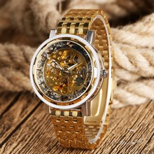Luxury 2016 New Full Steel Men Gold Skeleton Dial Wrist Watch Business Analog Mechanical Auto Watches Waterproof(China)