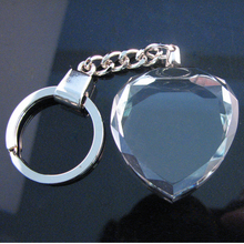 IFOLAINA Personalized Image 3D Laser Engraved Heart Crystal Keychain Crystal Key Ring