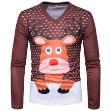 2017 new style autumn men's fashion T-shirt 3D fashion print deer printing V-Neck men popular long sleeved Fancy t-shirt S-XXL