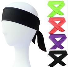 1pcs Cotton Tie Back Headbands Stretch Sports Sweatbands Hair Band Moisture Wicking Workout Bandanas Running Men Women Bands(China)