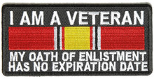 I Am A Veteran My Oath Of Enlistment Has No Expiration Date National Defense Ribbon Patch 4x2 inch Patriotic Clothing patches