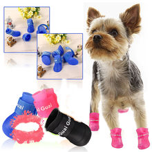 Colorful Dog Pet Boots PU Silica Gel Waterproof Pet Shoes, 4pcs/set Dog's Shoes Free Shipping