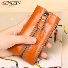 new ladies leather wallets, women leather bag genuine multifunction key bag large car key bag holder handbag leather wallet(China)