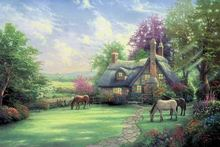 Thomas Kinkade Oil Painting Prints The Garden Of Prayer Handicraft And Art Black And Red Paintings Paintings Canvas Cheap RQ04(China)