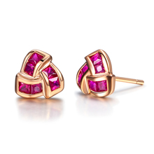 2014 New GVBORI Natural 18K Gold Ruby Earrings For Wedding Women Fine Jewelry Valentine gift Fashion Design(China)