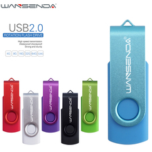 WANSENDA Metal Swivel USB Flash Drive Pen Drive USB 2.0 Cle Usb Stick 4/8/16/32/64/128GB Creative Pendrive Flash Drive(China)