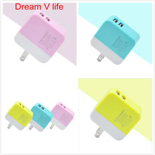 For iPhone 7 US High Quality Green Pink Yellow Travel USB Charger Adapter Wall Portable Plug Mobile Smart Free Shipping  Nov 7