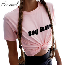 Buy Simenual 2018 Summer tops tees letter print female t-shirt short sleeve slim basic t shirt women clothing casual pink t-shirts for $8.39 in AliExpress store