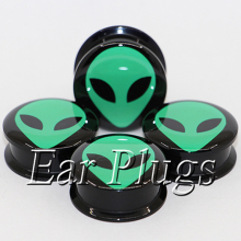 1 pair green alien ear plug gauges tunnel acrylic screw flesh tunnel body piercing jewelry PAP0494