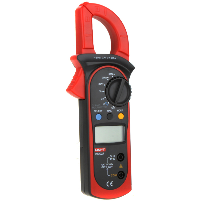 1pcs UNI-T UT202A LCD Digital Clamp Meter Multimeter Voltage Ampere Ohm Tester AC Current 600A<br><br>Aliexpress