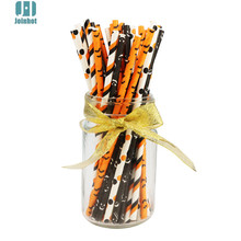 50 pcs/lot Halloween  bat striped Paper Drinking Straws Creative Drinking Tubes Party Supplies For halloween