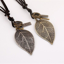 RONGQING Vintage Silver Leaves Charm Necklace Metallic Hollow Leaves Necklace for Women New Year Gift Idea(China)