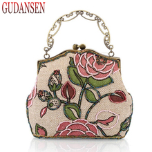 GUDANSEN Retro Lady Mini Handbag Women Shoulder Messenger Bags Small Clutches Evening Bag for Girls Bronze Hand Party Bag