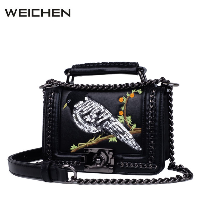 Classic Embroidery Leather Bags Women Punk Chain Women Small Bag Shoulder Cross Body Rock 2017 Handbag Female Messenger Bag<br>