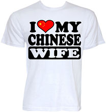 MENS FUNNY COOL NOVELTY CHINESE WIFE CHINA FLAG SLOGAN JOKE T-SHIRTS GIFTS IDEAS T Shirt Tops Summer Cool Funny T-Shirt(China)