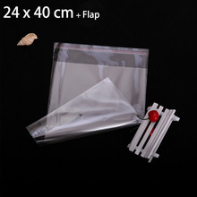 "200 Pcs 24 x 40 cm FOLD-OVER FLAP SEAL CRYSTAL CLEAR POLY PACKAGING BAGS 9.45"" x 15.74"" TRANSPARENT PLASTIC BAG"