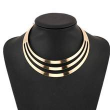 KISS WIFE 1pcs Necklaces Women Gorgeous Metal Multi Layer Statement Bib Collar Necklace Fashion Jewelry Accessories Hot Sale(China)