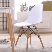 dining chair polymer furniture The modern popular plastic chair Leisure Composition of synthetic resin and solid wood legs 4PCS