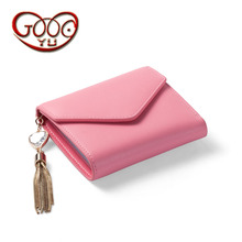 Unique envelope style design women wallets short paragraph candy color fine chain tassel decoration hand holding leather wallet(China)