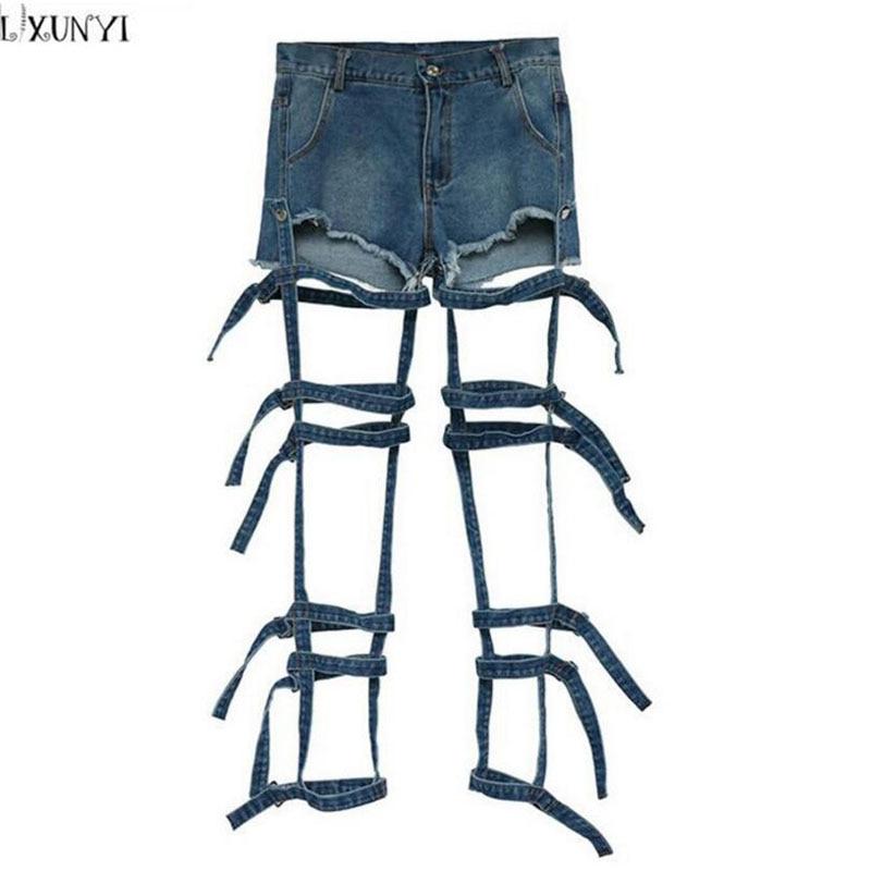 LXUNYI  High Waisted Denim Shorts 2017 Summer jeans Women Fashion Personality Bandage Hollow Out Washed Shorts Feminino Two WearÎäåæäà è àêñåññóàðû<br><br>