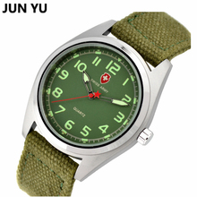 Famous Men Watch  Outdoor Sport Quartz Wristwatches Compass Watch  Army Soldier Military Canvas Strap Fabric Analog