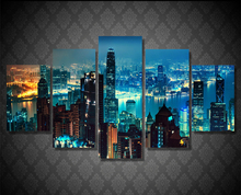 5Piece Canvas Poster Printed Painting Decor Picture Night View Canvas Art Wall City Building View Wall Poster Prints Hanging