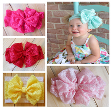 2015 Lace Bow Headwrap - Bow Lace Bow Headband mint lace bow headband Vintage Head Wrap Photo Prop Hair Accessories 7pcs/lot(China)