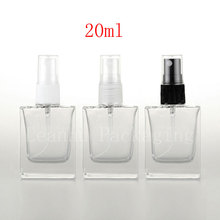 20ml empty square clear glass perfume bottles with mist atomizer , botella garrafa de spray,refillable spray perfume glass vial
