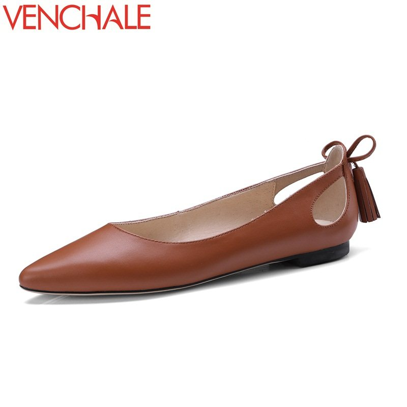 VENCHALE 2018 hot sale hollow women shoes skid resistance bowtie genuine leather pointed toe solid low heels spring pumps