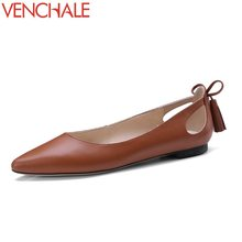 Buy VENCHALE 2018 hot sale hollow women shoes skid resistance bowtie genuine leather pointed toe solid low heels spring pumps for $37.40 in AliExpress store